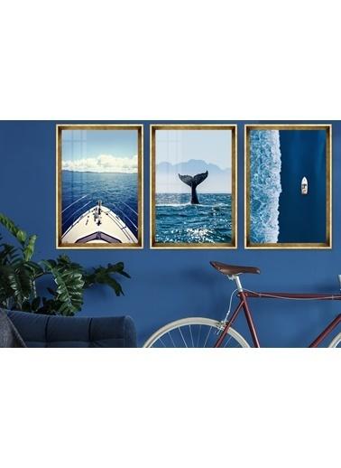 Çerçeve Home  Aquatic Life And Travel Gold Çerçeve Tablo Seti Altın